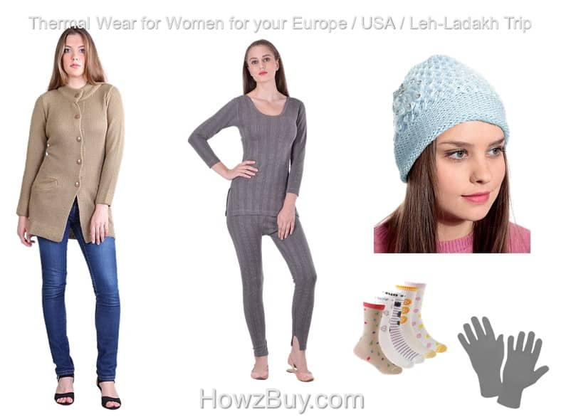 thermal wear for women in India for your europe usa leh ladakh trip