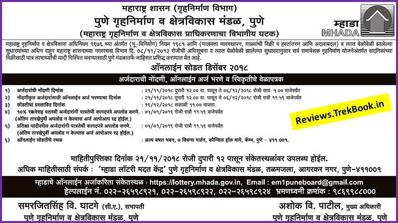 MHADA Lottery 2018 Pune and Pimpari Chinchwad