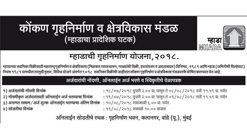MHADA Lottery Mumbai 2018 Konkan