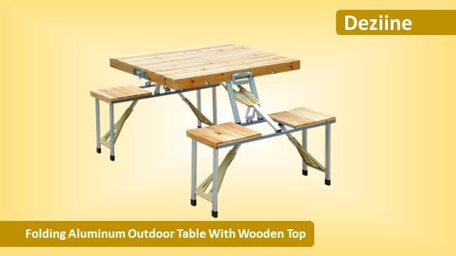Deziine Folding Aluminum Outdoor Table With Wooden Top review
