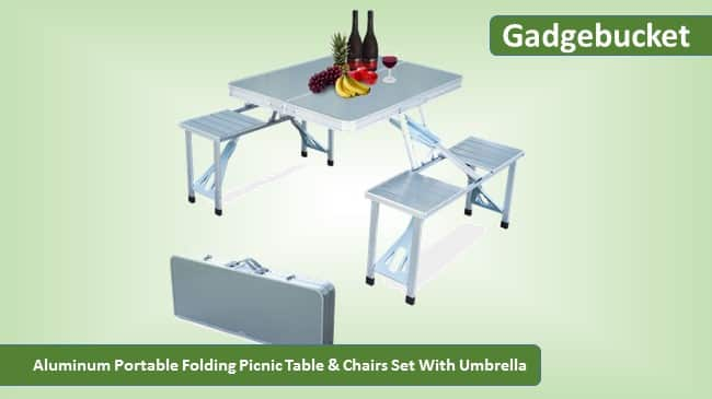 Gadgebucket Portable Folding Picnic Table & Chairs Set With Umbrella Review