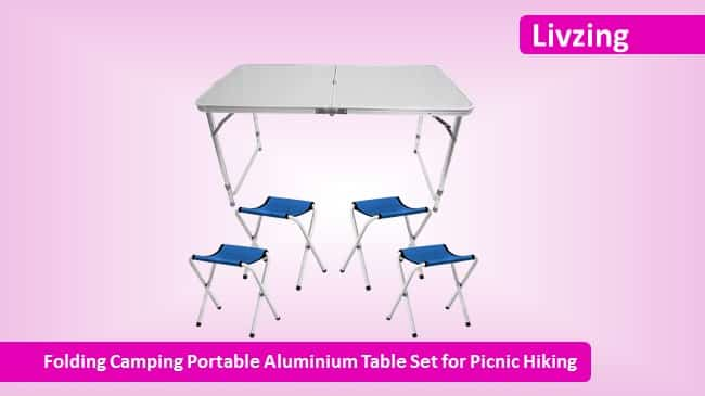 Livzing Folding Camping Portable Aluminium Table Set for Picnic Hiking review