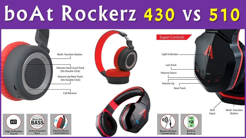 boAt Rockerz 430 vs 510 Bluetooth On-Ear Headphones