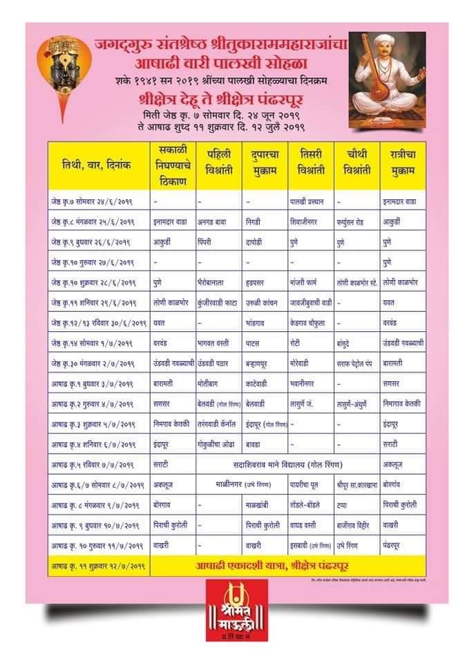 Dehu Pandharpur Palkhi schedule 2019