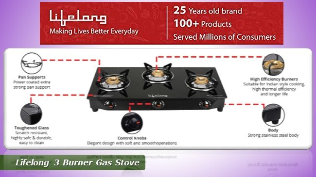 Best Glass Top 3 Burner Gas Stove - Lifelong 25 years old brand