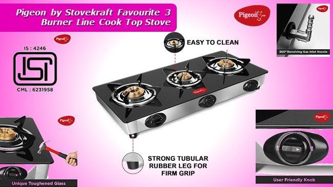 Pigeon by Stovekraft Favourite 3 Burner Line Cook Top Stove review