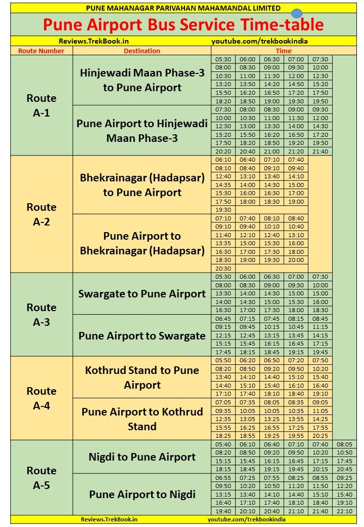 Airport Buses - Pune Airport Bus Service Time-table 2021