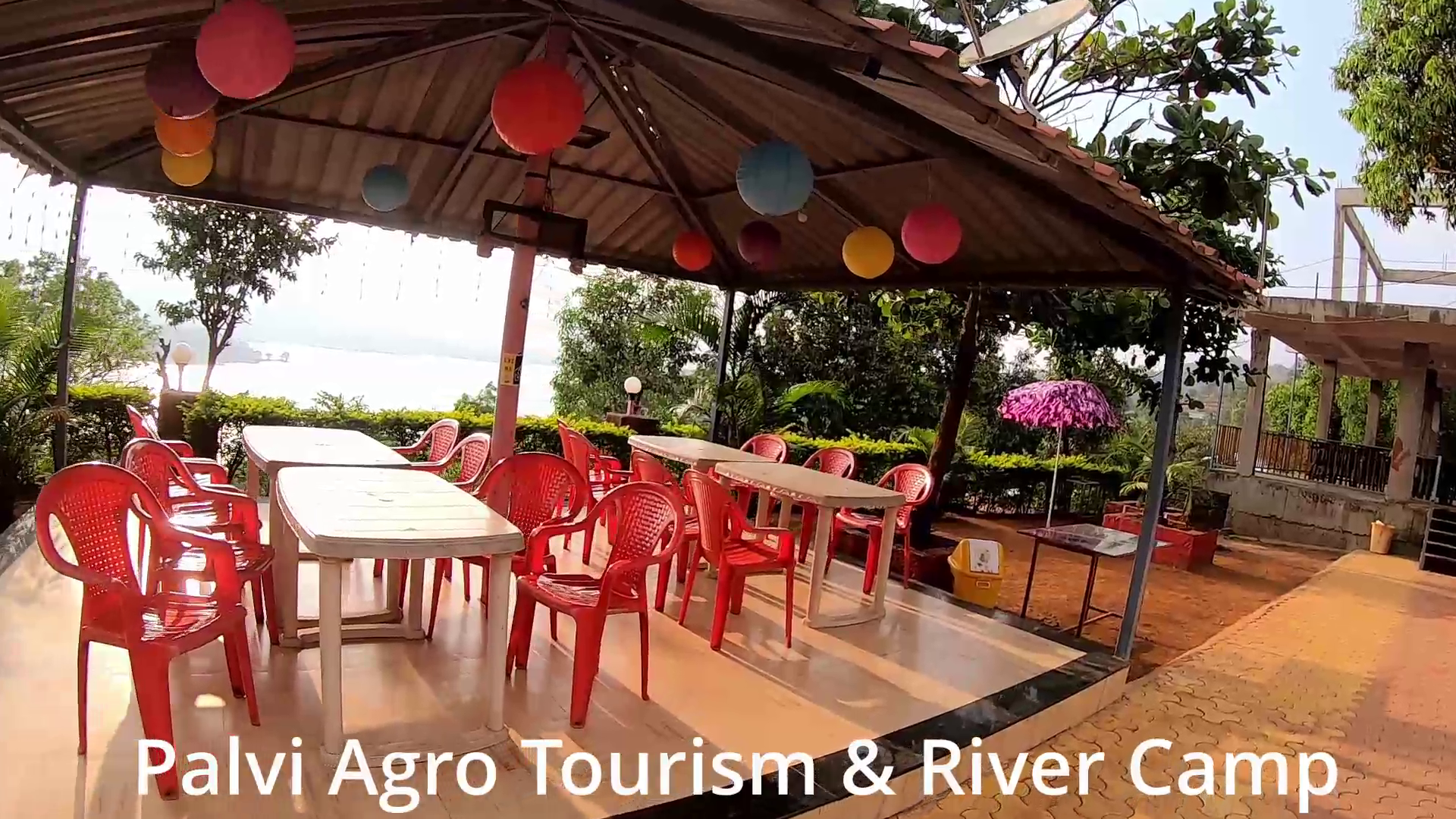 Palvi Agro Tourism & River Camp  dining hall with sunset view